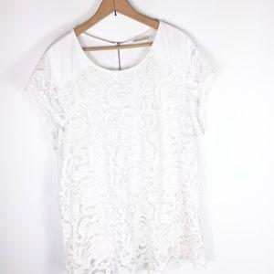 Chico's White Lace Cutout Blouse Top